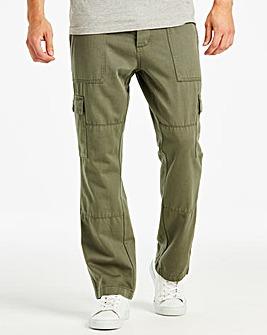 Khaki Fatigue Detail Cargo Trouser 33 in