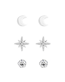 Simply Silver Star Stud Earring 3 Pack