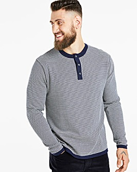 Jacamo Lightweight Knitted Henley Long