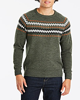 Khaki Fairisle Style Jumper Long