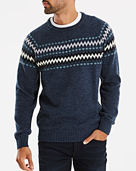 Navy Fairisle Style Jumper Long