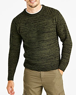 Jacamo Textured Crew Neck Jumper Reg