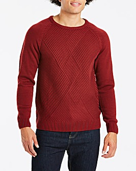 Textured Crew Neck Jumper Long