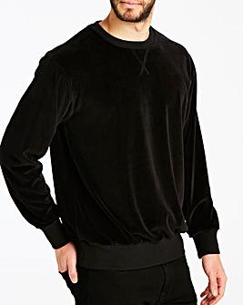 Jacamo Black Velour Crew Neck Sweatshirt Regular
