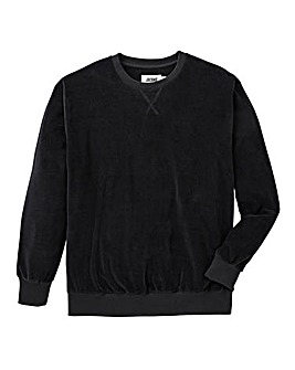 Jacamo Black Velour Crew Sweatshirt Long