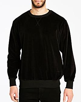 Black Velour Crew Sweatshirt Long