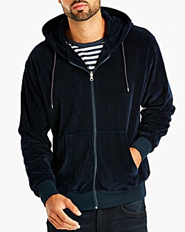 Navy Velour Hooded Top Long