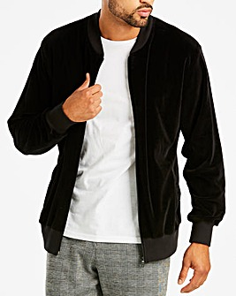 Jacamo Black Velour Bomber Long