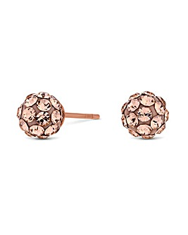Simply Silver 14ct Rose Gold Plated Sterling Silver 925 Crystal Ball Earring