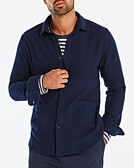 Jacamo Navy Low Pocket Long Sleeve Shirt Long