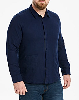 Jacamo Navy Low Pocket Long Sleeve Shirt Regular