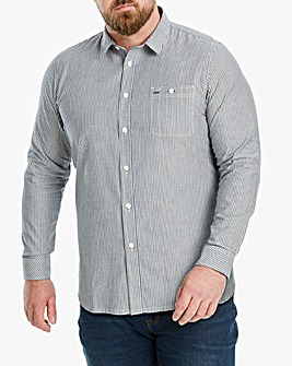 Jacamo Stripe Chambray Long Sleeve Shirt Regular