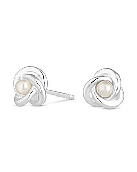 Simply Silver Pearl Knot Stud Earring