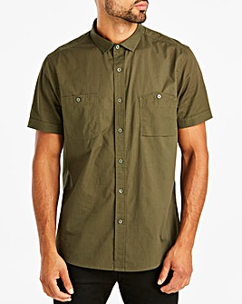 Jacamo Khaki Military Short Sleeve Shirt Regular
