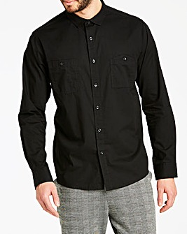 Jacamo Black Military Long Sleeve Shirt Regular