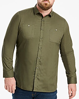 Jacamo Khaki Military L/S Shirt Regular