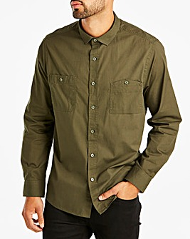 Jacamo Khaki Military L/S Shirt Long