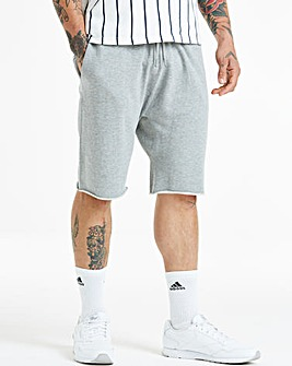 Grey Jersey Raw Hem Short