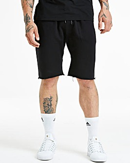 Jacamo Black Jersey Raw Hem Short