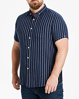 Jacamo Navy Stripe S/S Shirt Regular