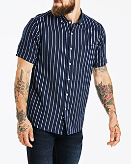 Jacamo Navy Stripe S/S Shirt Long