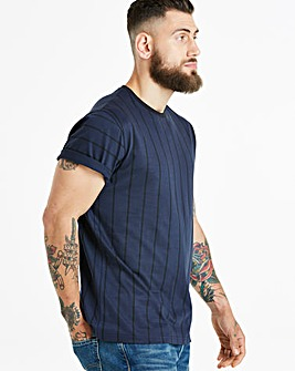 Jacamo Vertical Stripe S/S T-Shirt Long