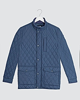 Navy Quilted Four Pocket Jacket Long