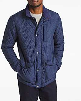 Navy Quilted Three Pocket Jacket Long