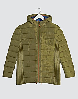 Olive Recycled Hooded Puffer Jacket