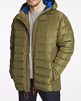 Khaki Recycled Hooded Padded Puffer Jacket