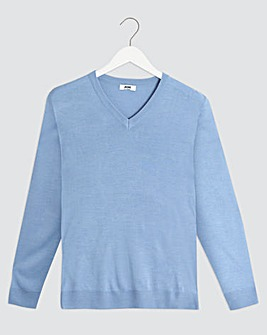Blue Marl V Neck Jumper Long
