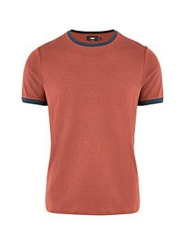 Burgundy/Navy Knitted Ringer T-Shirt