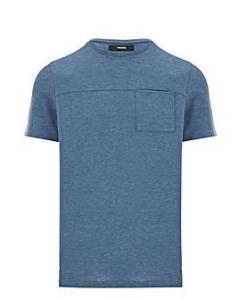 Denim Knitted Pocket T Shirt