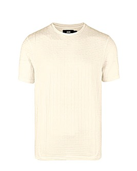 Ecru Textured Knitted T Shirt