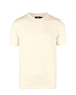 Ecru Textured Knitted T Shirt