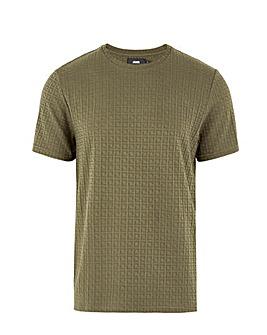 Khaki Textured Knitted T Shirt