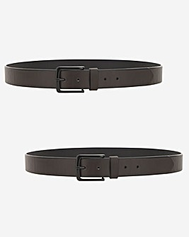 Bonded Leather Twin Pack Belt Brwn/Blk