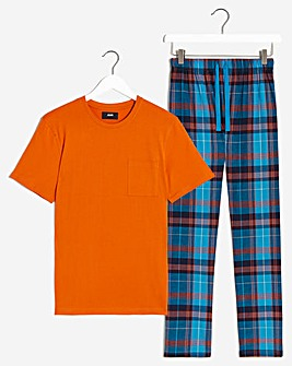 PJ Tee and Check Long Pant Set