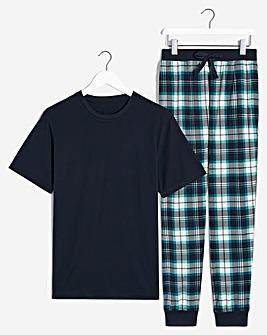 PJ Tee and Check Lounge Pant Set
