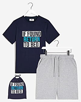 PJ Slogan Short Set with Bag