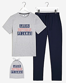 PJ Slogan Long Pant Set with Bag