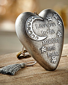 To The Moon & Back Heart Art Ornament