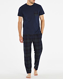 Navy Check Short Sleeve Pyjama Set