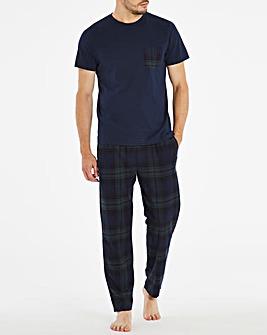 Navy Check Short Sleeve Pyjama Set