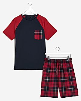 Navy Check Shorts Pyjama Set