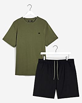 Khaki/Black T-Shirt and Short Set