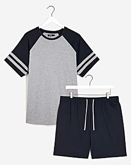 Navy/Grey T-Shirt and Short Set