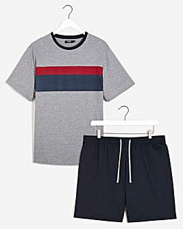 Grey Marl Stripe T-Shirt and Short Set