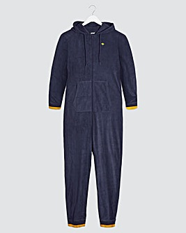 Navy Embroidered Logo Microfleece Onesie