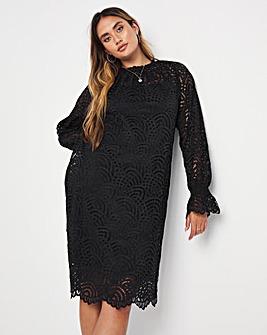 Jo Elasticated Cuff Lace Dress